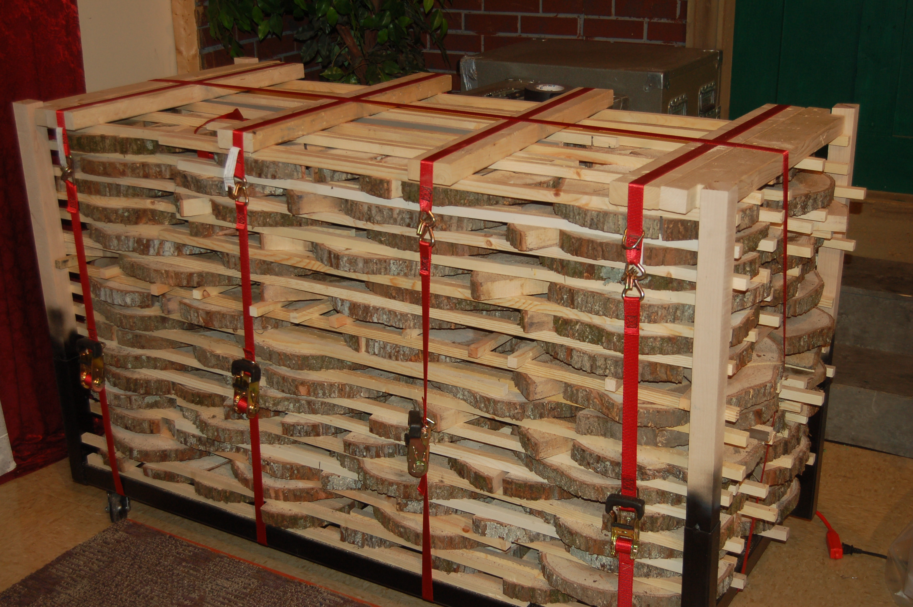 strapped cart of maple slabs